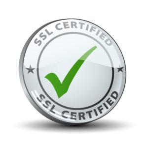 SSL Zertifikat. Kreis mit grünem Haken