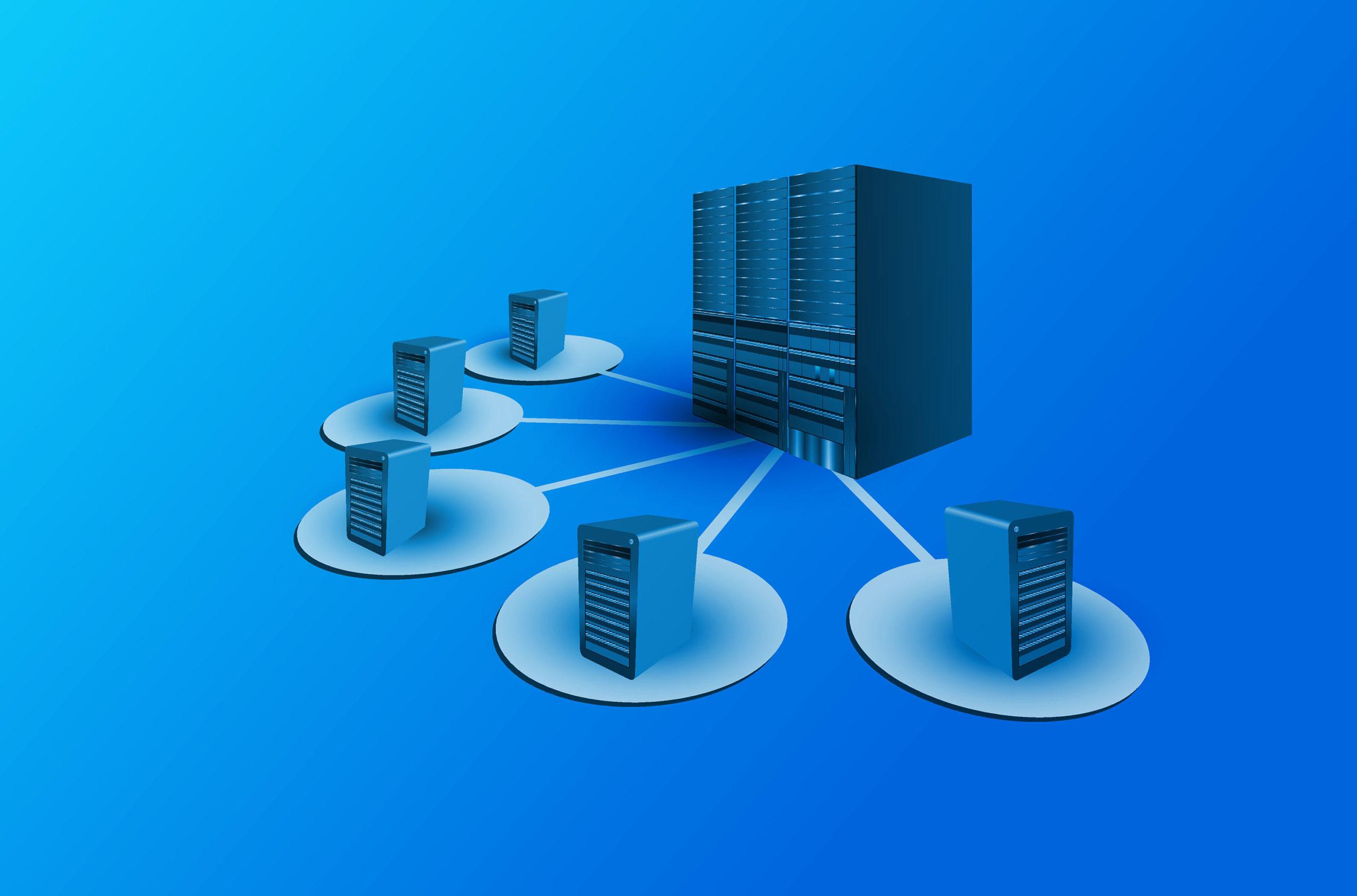 Ein Serverraum mit vielen verschieden Servern angebunden